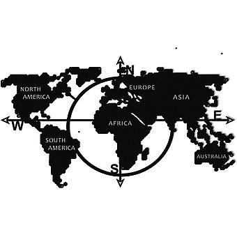 World Map Series Wall Decoration Black Metal Color, L110xP1,5xA62 cm