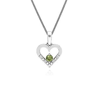 Classic Round Peridot & Diamond Love Heart Shaped Pendant Necklace in 9ct White Gold 162P0219089