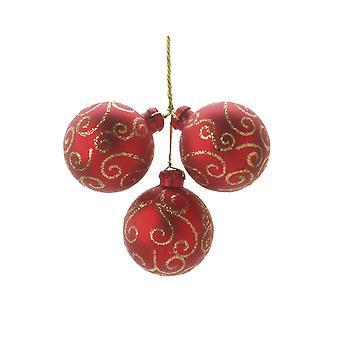 3 Red Swirl Wired Kerstballen ornamenten voor kransen en bloemisterij