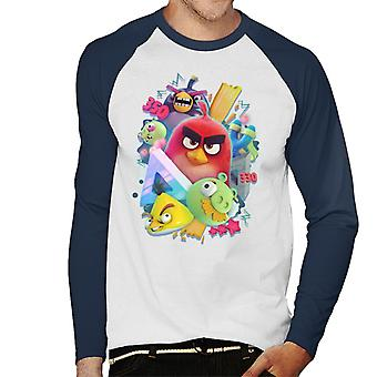 Angry Birds 3D Gang Men's Baseball Long Sleeved T-Shirt