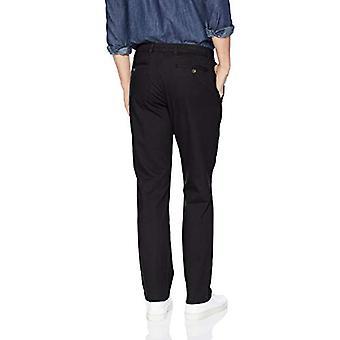 Essentials Men's Straight-Fit Casual Stretch Khaki, Nero, 40W x 29L