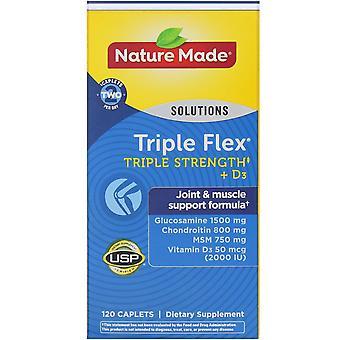 Nature Made, Triple Flex, Triple Strength + D3, 120 Caplets