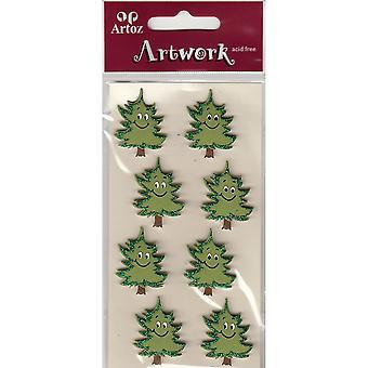 Glitter Pine Trees Craft Embellishment By Artoz