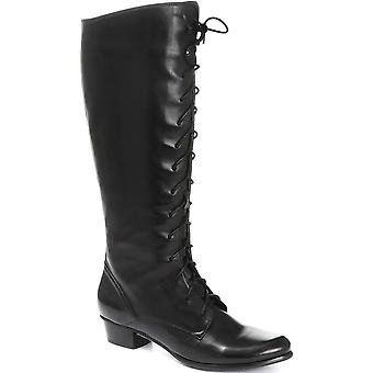Regarde Le Ciel Womens Stefany-124 Lace-Up Leather Knee Boots