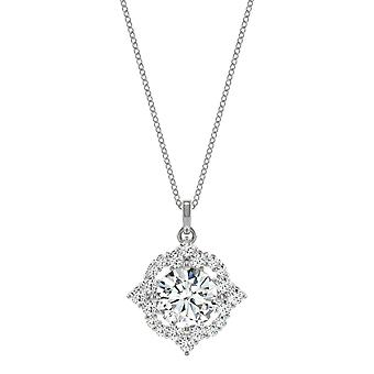 14K Ouro Branco Moissanite por Charles & Colvard 7milímetros Round Halo Pendant Colar, 1.42cttw DEW