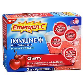 Emergen-c immune+ vitamin d, drink mix packets, cherry, 30 ea *