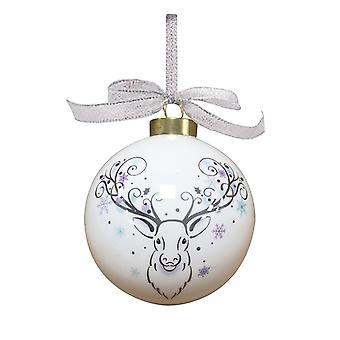 Fine China Bauble with Stag Design - Boxed