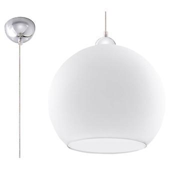 1 Licht glazen koepelplafondhanger wit, chroom, E27