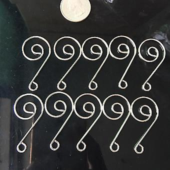 20pcs Silver Metal Snail Hook For Connecting Prism Beads To Chandelier Parts  Diy
