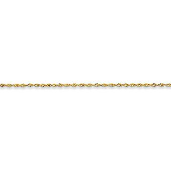 14k Yellow Gold Solid Lightweight Lobster Claw Closure 1.5mm Sparkle Cut Extra Lite Rope Chain Bracelet - Length: 6 to 1