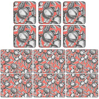 Pimpernel Pomona Coral Placemats and Coasters