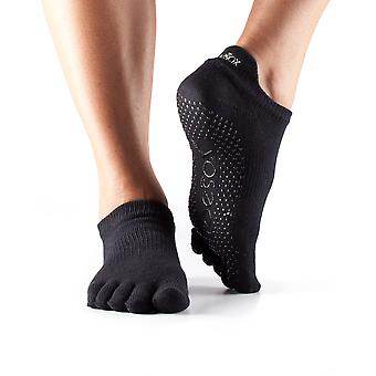 Toesox Low Rise Full Toe Socks  Black  Medium 6-8.5
