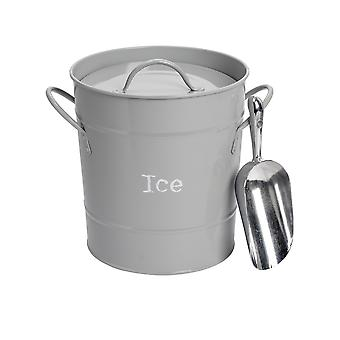 Industrial Ice Bucket with Scoop - Vintage Style Double Walled Steel Champagne Cooler - Grey