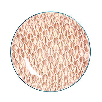 Nicola Spring Geometric Patterned Dinner Plate - Large Porcelain Dining Dish - Coral - 26.5cm