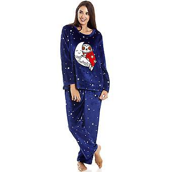 Camille Naisten Sininen Supersoft Fleece Sloth Character Pyjama Setti