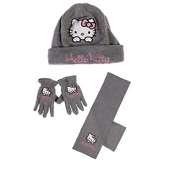Hello kitty girls fleece hat scarf and gloves set