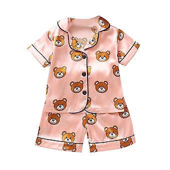 baby pyjamas sett, gutter jenter tegneserie bjørn print antrekk