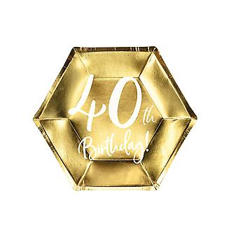 Gold 40th Birthday Party Farfurii De Hârtie Partyware 20cm X 6