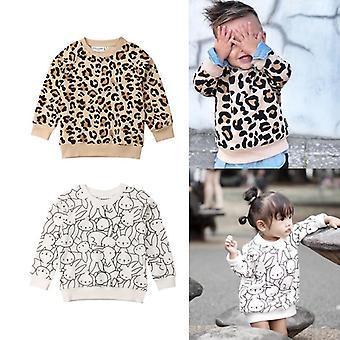 Vauvan pusero leopardi printti tyttö, poika päällysvaatteet