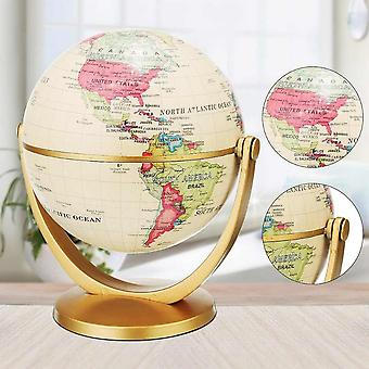 Vintage Pedestal English Edition Globe, World Map Decoration, Earth With Gold