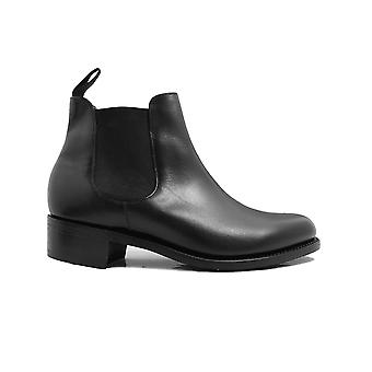 Barker Violet Black Calf Leather Womens Pull On Chelsea Boots