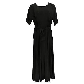 Nina Leonard Dress 1/2 Sleeve Midi With Removable Belt Black 643-206