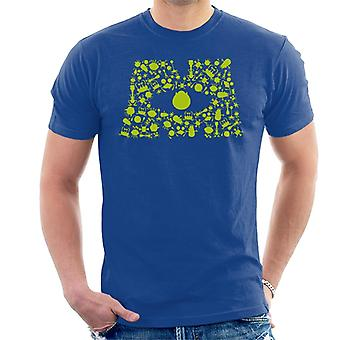 Pixar Monsters Inc Logo Personagem Silhuetas Men'T-Shirt