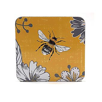 Home Living Coasters x 6 Bumblebee Yellow HH2287