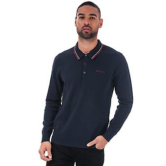 Men's Ben Sherman gekippt Kragen stricken Polo Shirt in blau