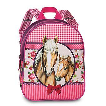 Fabrizio Kids Pferde Mädchen Rucksack 29 cm, Pferde Pink