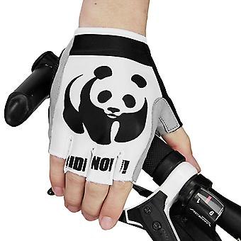 Homemiyn Men And Women Outdoor Sports Cycling Half-finger Non-slip Gloves Panda Pattern
