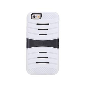 Detachable Dual Layer Silicone & PC Back Case Protective Shell Cover with Stand for iPhone 6 White