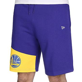 New Era Mens NBA Golden State Warriors Colour Block Sweat Shorts - Blue