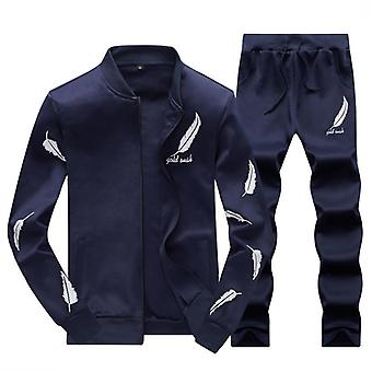 Autumn Sporting Tracksuit Male Fitness Stand Collar Sweatshirts Jacket + Pants