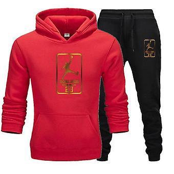 Men Tracksuit Sweatshirt Suit Fleece Hoodie+sweat Pants For Jogging Sporting