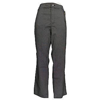 Lee Women's Petite Pants Wrinkle-Free Relaxed Fit Straight-Leg Plaid Black