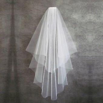 Short Wedding Veil With Comb, Cut Edge 2 Layers, Simple Mariage Wedding