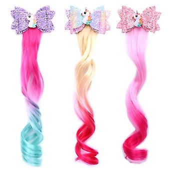 Unicorn Glitter Hair Bows Princess Dress Up Braided Curly Wig Hair