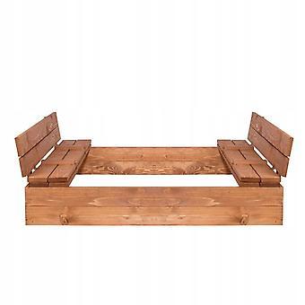 Piaskownica z ławkami – Drewno – Plac 120x120 – Zabawki ogrodowe