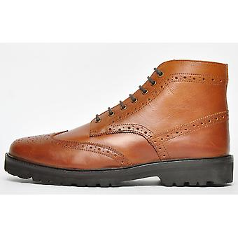 Frank Wright Pine Brogue Boot Leather Tan Thunder Leather