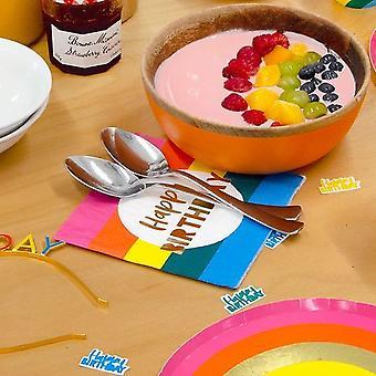 Birthday Brights Rainbow 'Happy Birthday' Paper Party Napkins x 16