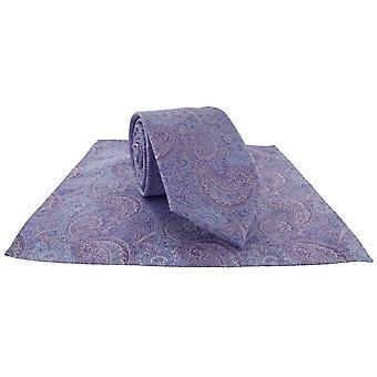 Michelsons de Londres Elegante Paisley Tie e Pocket Square Set - Lilás