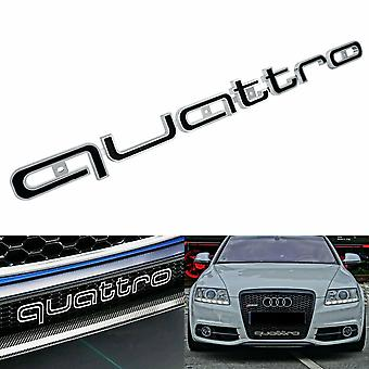 Gloss Black/Chrome RS Style QUATTRO Long Front Grill Bonnet Badge Emblem Grill Badge Emblem
