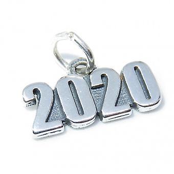 2020 Anno Sterling Argento Charm .925 X 1 Compleanno Matrimonio Laurea - 8320