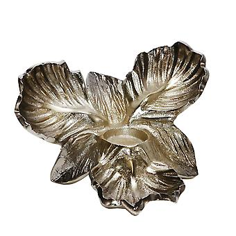 """Metal 12"""" Orchid Tealight Candle Holder, Gold"""