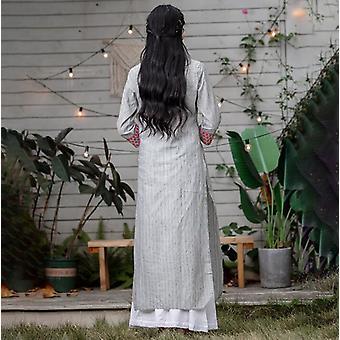 Frau ethnische Stile Druck Sets Baumwolle Leinen dünn Lehenga Choli elegante Lady Top