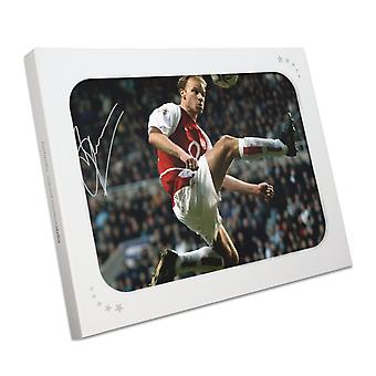 Dennis Bergkamp Signed Arsenal Photo: The Statue. Gift Box
