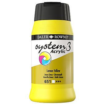 Daler Rowney System 3 Acrylic Paint Raw Lemon Yellow (500ml)