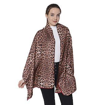 Dubbelzijdige luipaardprint en effen kleuren sjaal (maat 65x185cm) - Bordeaux