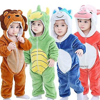 Детские Ромперы, Зимний костюм льва Кигуруми для малыша животных Jumpsuit